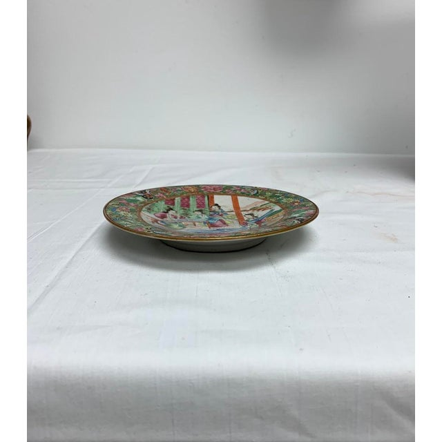 Mid 19th Century Antique Chinese Export Rose Mandarin Footed Dish For Sale - Image 5 of 7