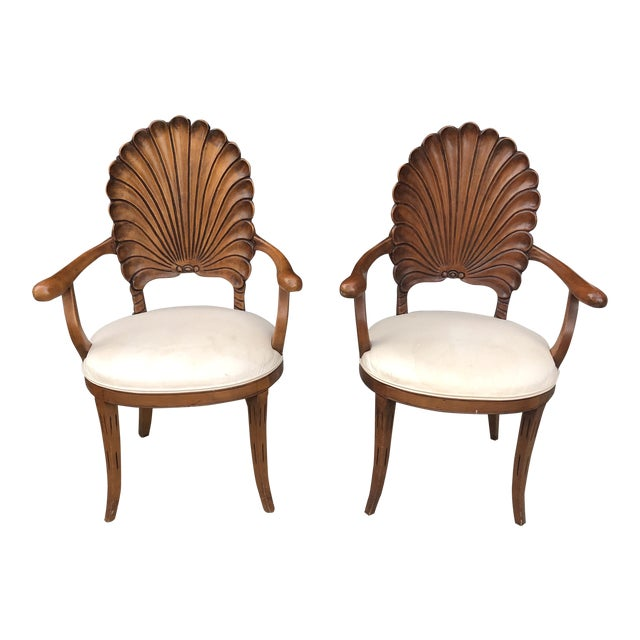 1970s Vintage Italian Hand Carved Shell Chairs- A Pair For Sale
