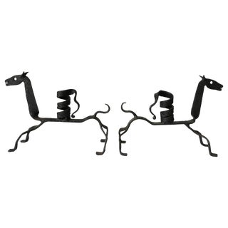 Iron Horse Candlestick Holders From Spain, Pair For Sale