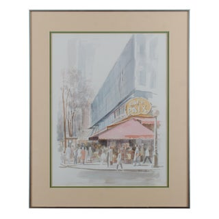 Vintage Mid-Century H. Richard Black Café De La Paix Watercolor Painting For Sale