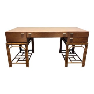 Vintage Refurbished Henredon Bamboo Rattan Double Pedestal Desk For Sale