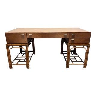 Vintage Refurbished Henredon Bamboo Rattan Double Pedestal Desk