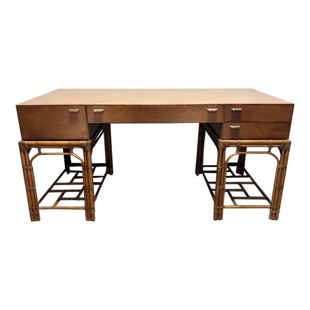 Vintage Refurbished Henredon Bamboo Rattan Double Pedestal Desk For Sale