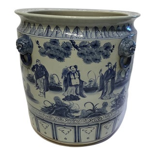 Chinoiserie Hand Painted Planter For Sale