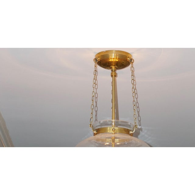 Bell Onion Hand-Blown Glass and Brass Hanging Light Fixture For Sale - Image 4 of 5