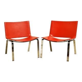 Pair of Vintage Italian Read Leather Lounge Chairs by Cattelan Italy For Sale