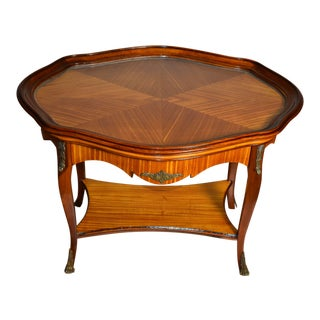 1910s Antique French Satinwood Coffee Table With Glass Tray Brass Mounts & Feet For Sale