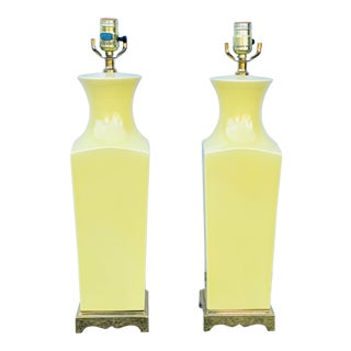 Light Yellow Ceramic Table Lamps With Brass Base - a Pair