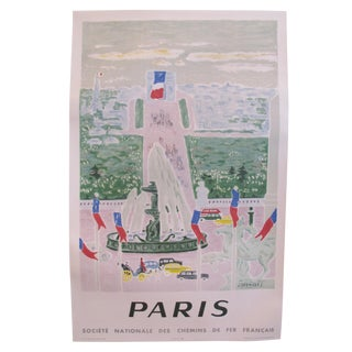 1957 Original French Travel Poster, Paris