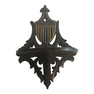 20th Century English Traditional Carved Walnut Shelf With Shield Design For Sale