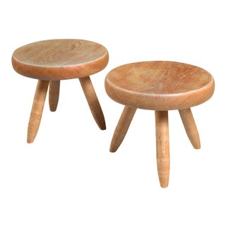 Charlotte Perriand pair of ash stools, France, 1950s For Sale