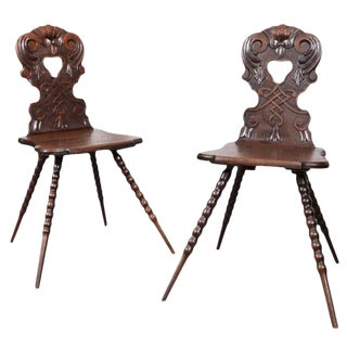 Austrian Hall Chairs - A Pair For Sale
