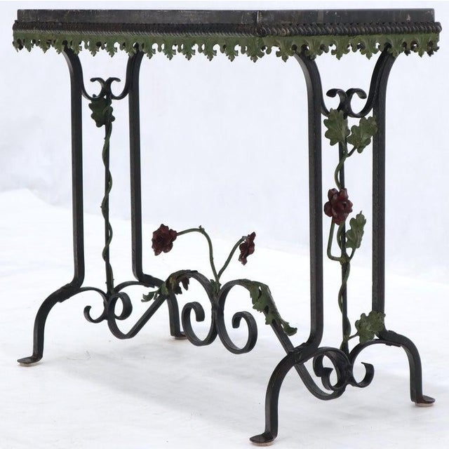 Black Marble Top Ornate Wrought Iron Side Console Table For Sale - Image 6 of 13