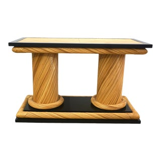 1970s Howard Dilday Organic Rattan Console Table With Black Lacquer Border For Sale
