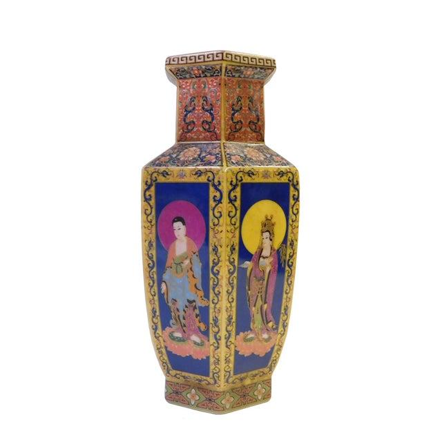 Hexagonal Porcelain Buddha Vase - Image 3 of 6