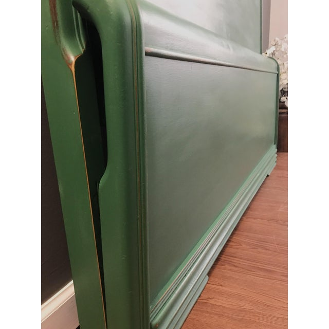 Waterfall Bed Set Depression-Era Art Deco Waterfall Bed Has been painted in a custom mix green, distressed for effect and...