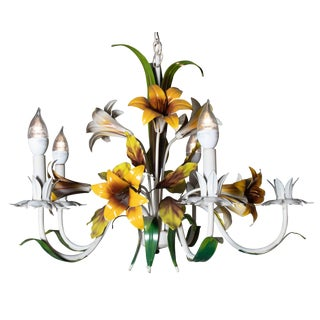 1950s Italian Tole Painted Lilly Chandelier For Sale