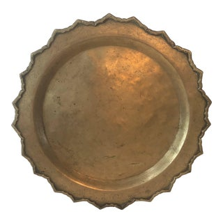 Vintage Brass Tray Circular With Scallop Detailing Rim For Sale