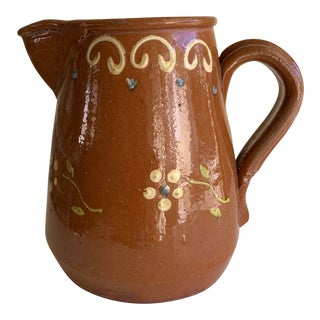 Vintage Pottery Red Ware Pitcher or Vase For Sale