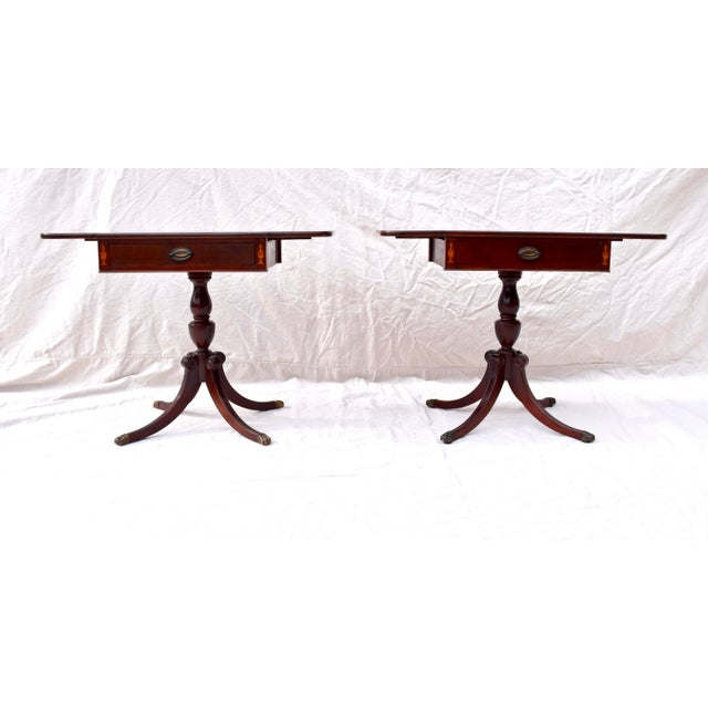 Mahogany Pembroke Tables With Inlay Detail, Pair For Sale - Image 4 of 13
