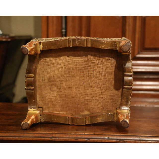 Gold 19th Century French Louis XV Carved Gilt Walnut Footstool With Aubusson Tapestry For Sale - Image 8 of 9