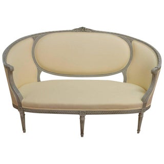 Louis XVI Style Grey Painted Sofa Newly Upholstered in Soft Yellow Fabric