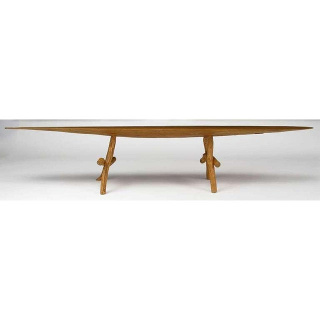 Adirondack Style Natural Wood Surf Board Coffee Table For Sale - Image 4 of 8