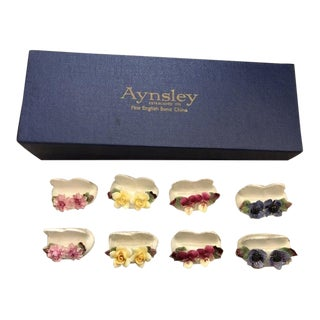 Vintage Boxed Ansley Fine Bone China Placecard Holders - Set of 8 For Sale