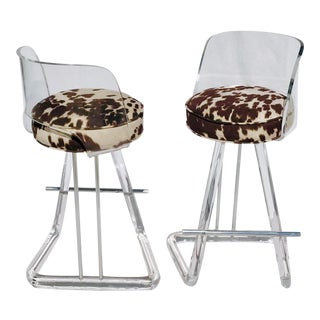 Swivel Vintage Acrylic Barstools- A Pair For Sale