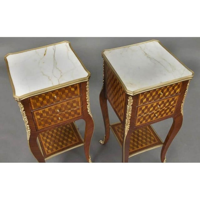 Early 20th Century Vintage French Louis XV Marquetry and Bronze Nightstands With Marble Top - a Pair For Sale - Image 5 of 8