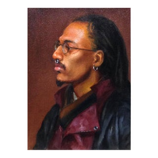Portrait of Man in Leather Jacket & Glasses For Sale