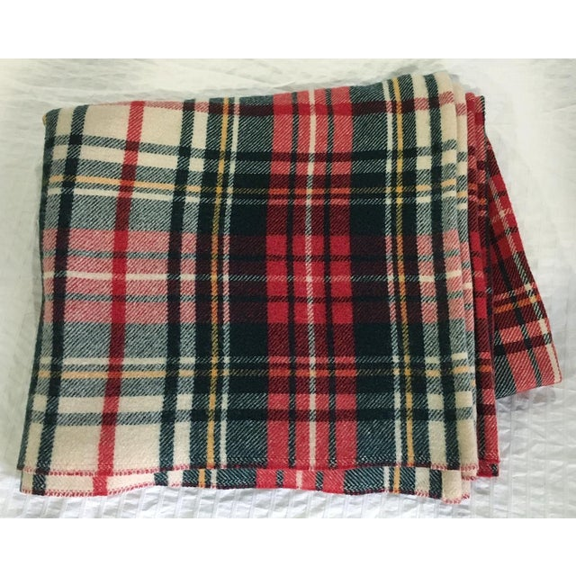 1980s Plaid Wool Blanket For Sale - Image 4 of 4