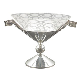 French Art Deco Silver Plate Etched Glass Chalice Centerpiece Bowl For Sale