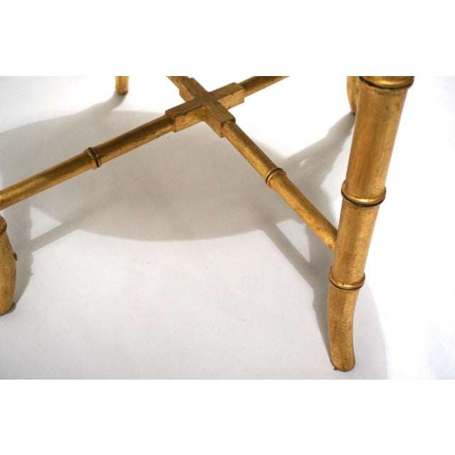 Italian Vintage Italian Tole Table on Gold Bamboo Stand For Sale - Image 3 of 11
