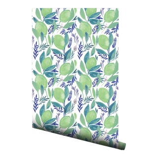 Boho Chic Lime Pre-Pasted Wallpaper - 2 Piece Set For Sale