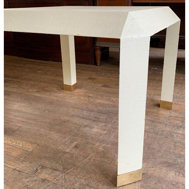 Boho Chic Mid Century Karl Springer Off White Table For Sale - Image 3 of 9