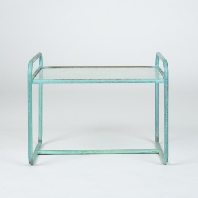 Mid-Century Modern Bronze End Table With Hammered Glass Top by Walter Lamb for Brown Jordan For Sale - Image 3 of 13