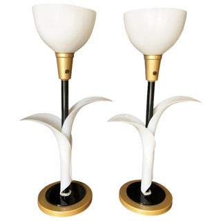 Pair of Sculptural Acrylic Table Lamps by Rougier For Sale