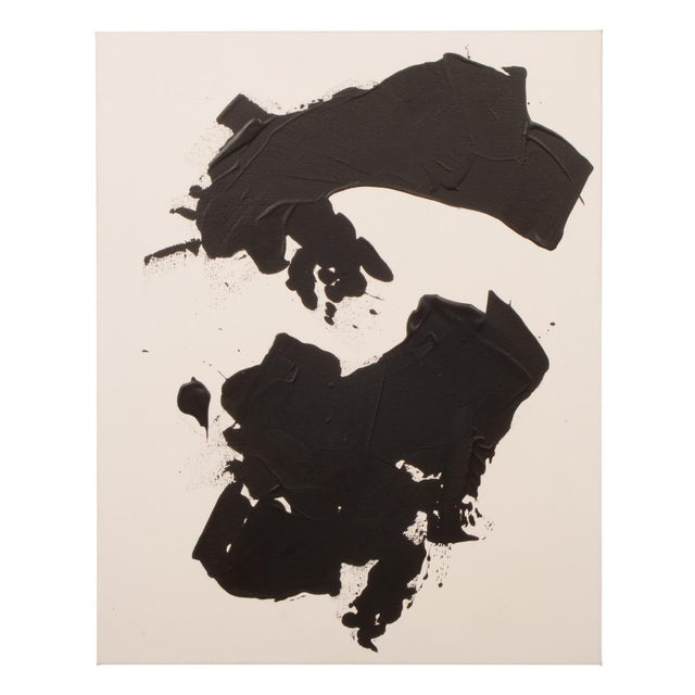 Original Black and White Abstract Painting on Gallery Wrapped Canvas For Sale