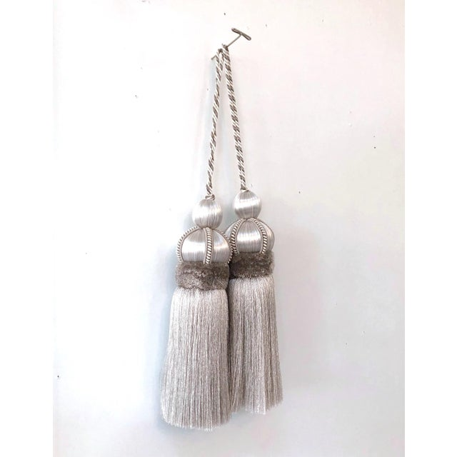 """Pair of Silver Key Tassels With Cut Ruche - 5.75"""" For Sale - Image 11 of 11"""