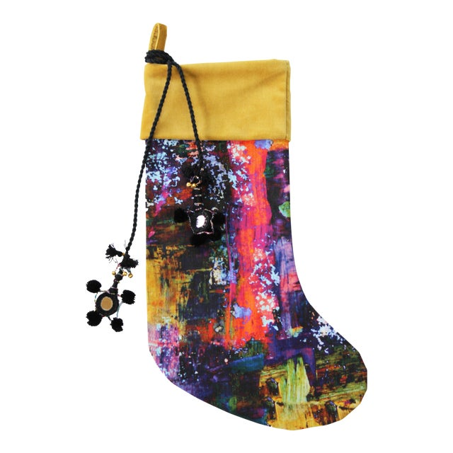 Handmade Painterly Christmas Stocking For Sale