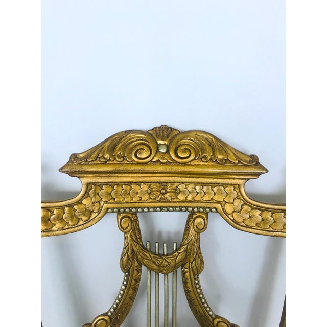 Wood Elegant Belle Epoque Lyre Chair in Antique Gold Leaf, Italy For Sale - Image 7 of 13