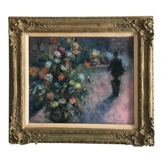 1960s Floral Still Life Mixed-Media Painting Signed S. Grossman, Framed For Sale