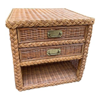 1960s Hollywood Regency Rattan Side Table For Sale
