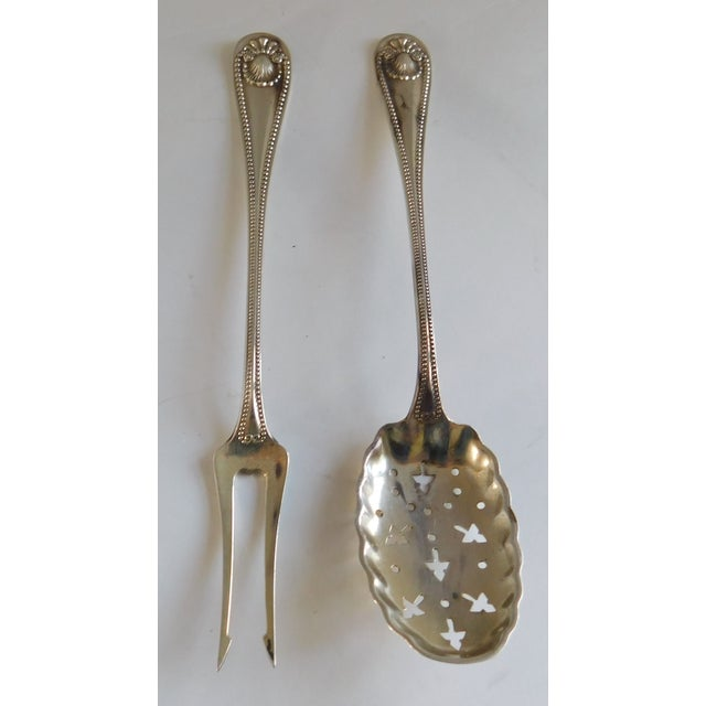 Sterling Antique Whiting Openwork Spoon and Two Prong Fork - a Pair For Sale - Image 12 of 13