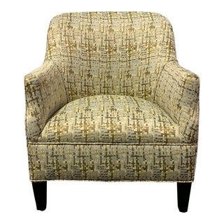 Abstract Design Fabric Upholstered Accent Chair For Sale