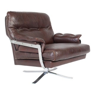 Arne Norell for Vatne Mobler Buffalo Leather Lounge Chair For Sale