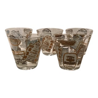 Gold & White Print Lowball Glasses -Set of 5 For Sale