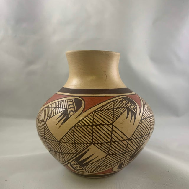 Native American Southwest Clinton Polacca Hopi Polychrome Seed Jar With Migration Pattern For Sale - Image 3 of 13