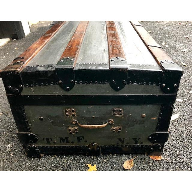 19th Century American Classical Customized Travel Trunk For Sale - Image 9 of 12